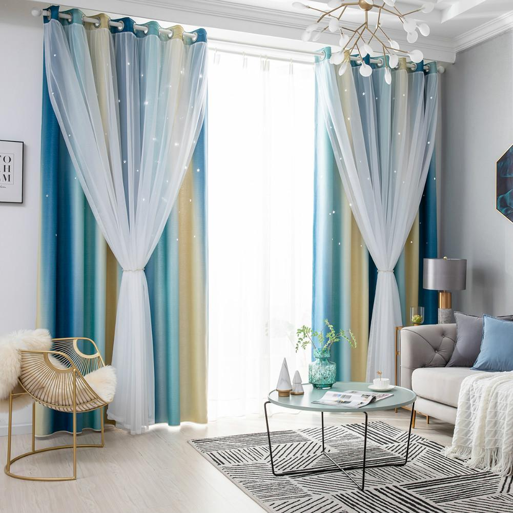 KL 1pcs childrens bedroom living room stars color double-layer blackout curtains