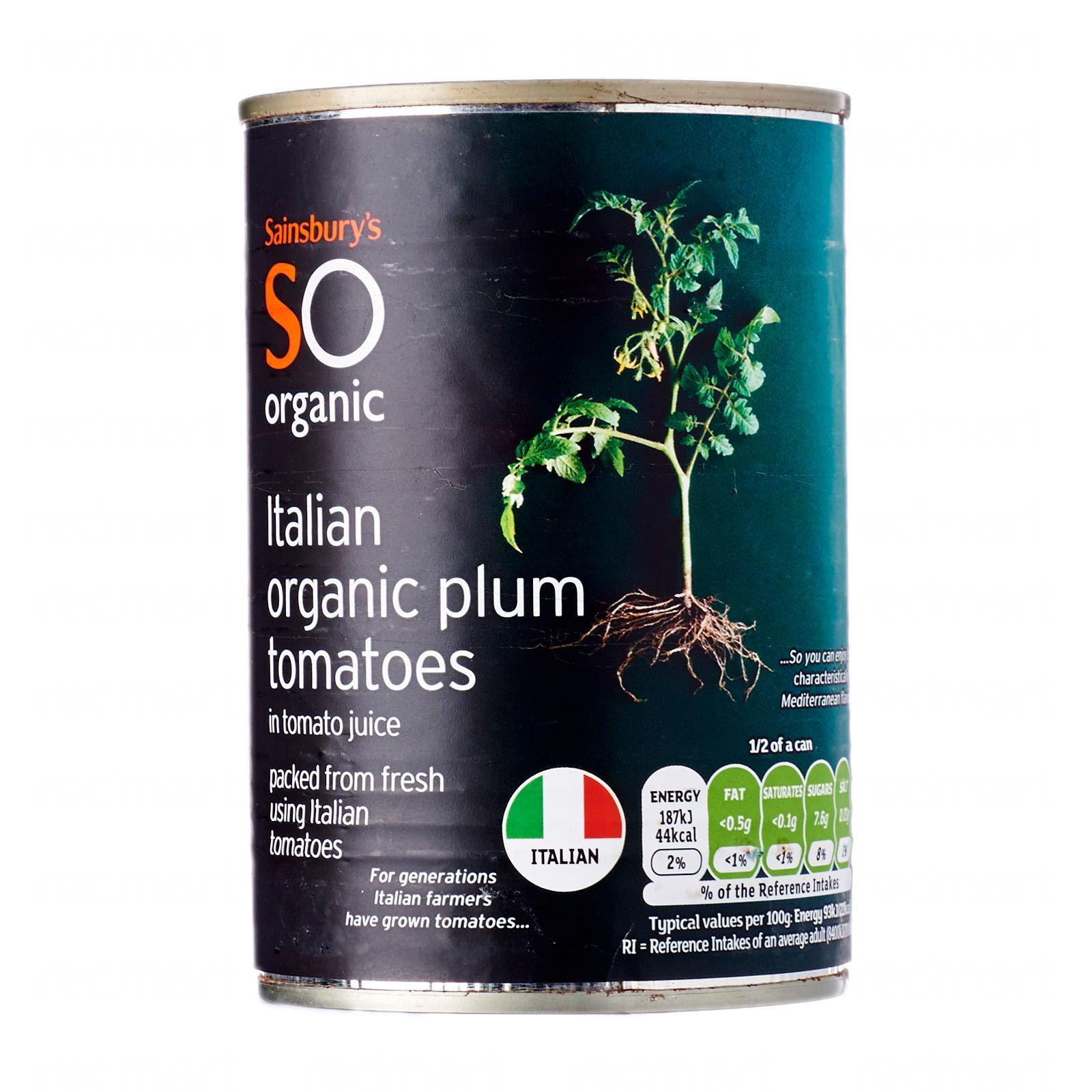 Sainsbury's Organic Peeled Plum Tomatoes
