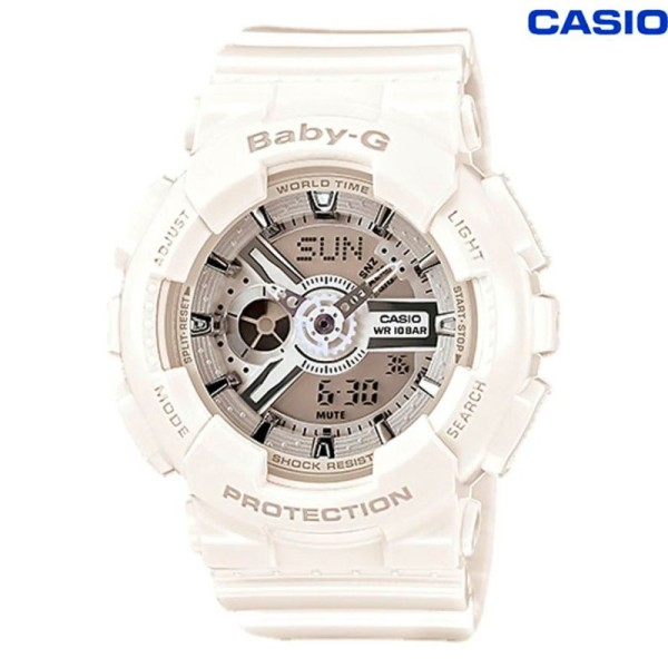[In stock] Original BABY G Layered 3D Metallic Face Womens White Resin Strap Watch In stock-7A3 BA-110-7A3 Malaysia