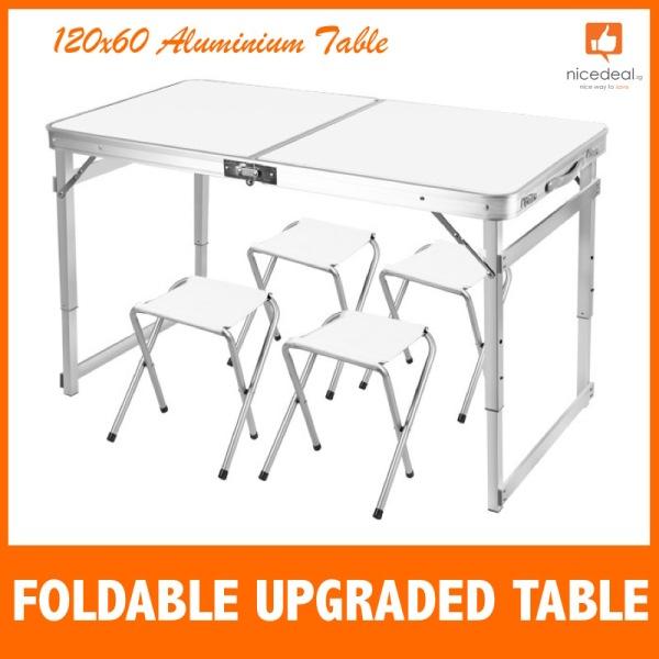 120x60 Aluminium Foldable Table Heavy Duty Upgraded Table Chair