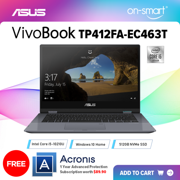 【Next Day Delivery】ASUS VivoBook Flip TP412FA-EC463T | Intel Core i5-10210U Processor | 8GB RAM | 512GB NVMe SSD | Intel UHD Graphics | Windows 10 Home | 2 Years International Warranty | FREE Acronis Subscription