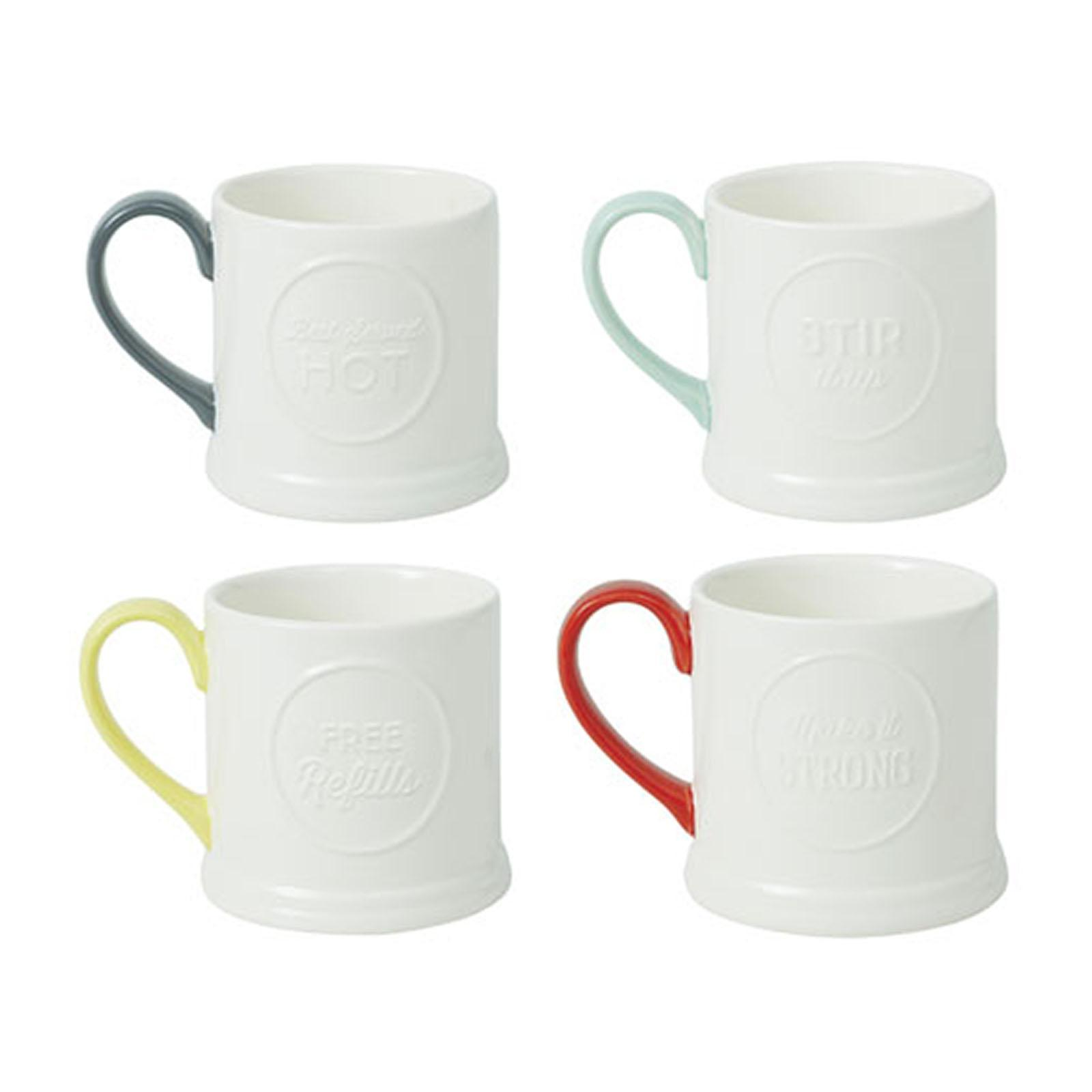 Jamie Oliver Embossed Mugs - Set Of 4 - By ToTT