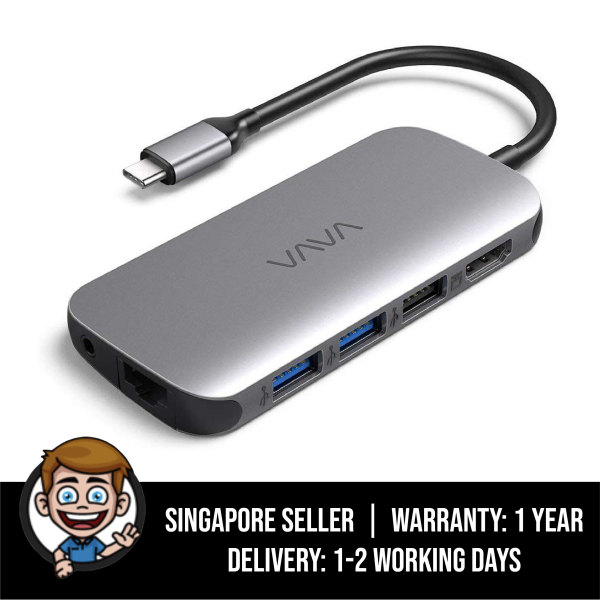 VAVA USB-C Hub 9-in-1 Adapter with PD Power Delivery, 4K USB C to HDMI, USB 3.0 Ports, 1 Gbps Ethernet Port, SD / TF Cards Reader for MacBook / Pro / Air (2018) and Type-C Windows Laptops