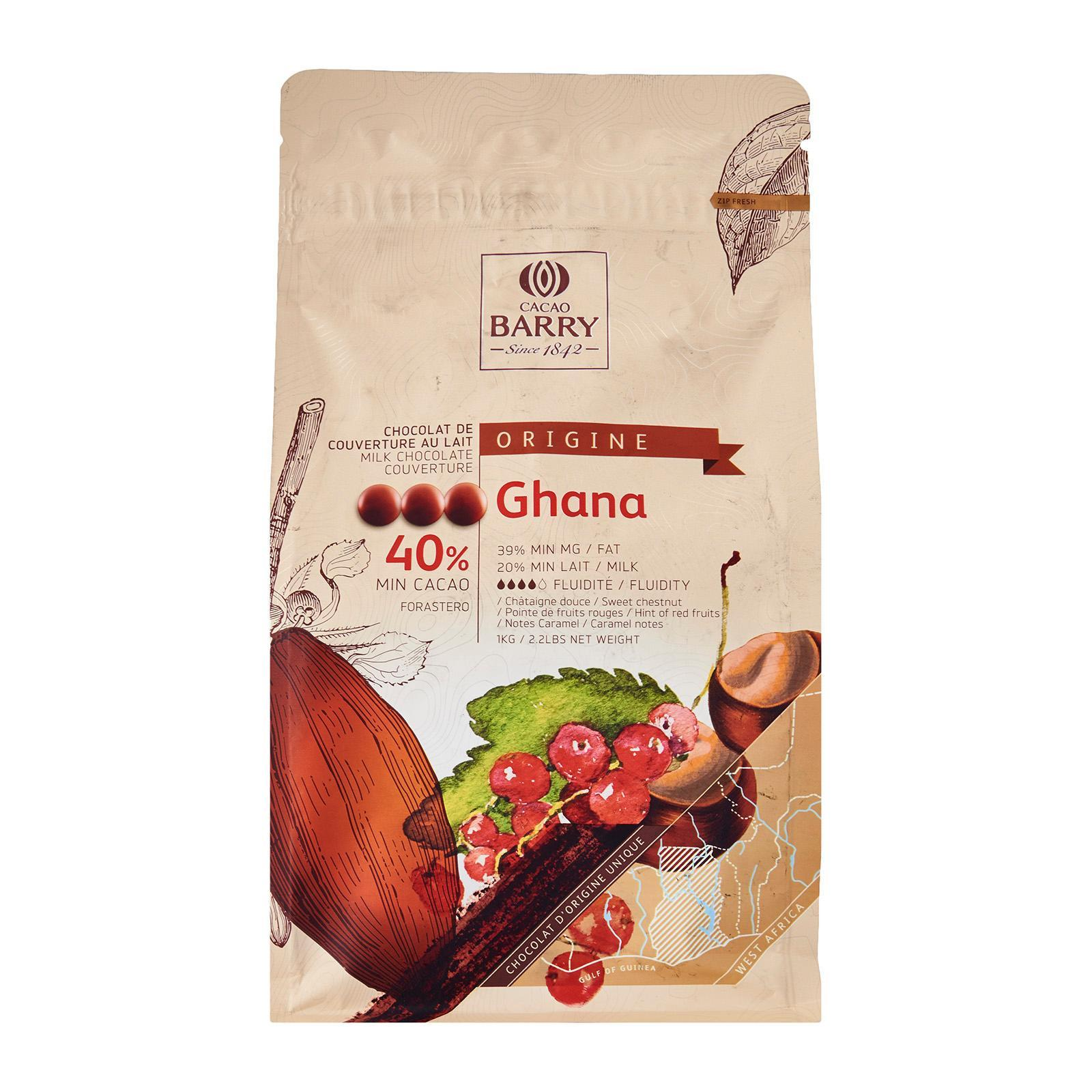 Cacao Barry Choc Couv Milk Cocoa 40.50% Pistoles - Ghana By Redmart.