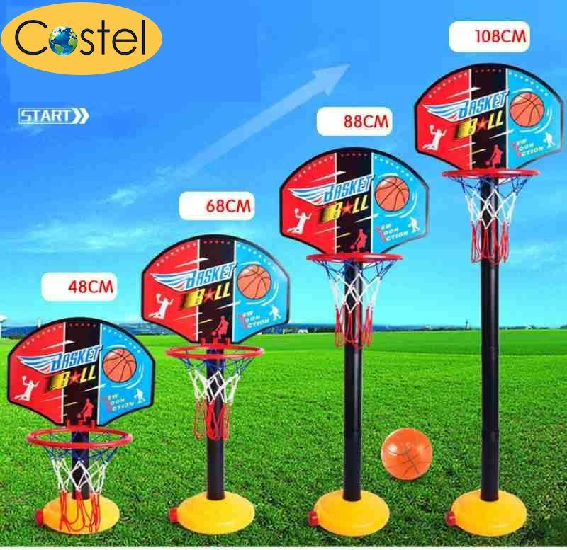 Adjujstable Kids Sports Portable Basketball Toy Set With Stand & Pump Toddler Baby - Intl By Costel.