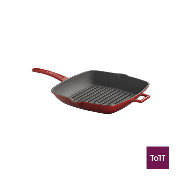 Lava Cast Iron 26x32cm Rect Grill Pan Red Singapore