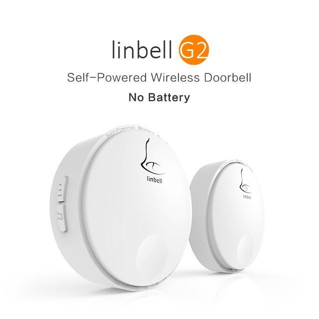 [sg Version 3 Pin Plug] Linbell G2 Self-Powered(1 Transmitter+1 Receiver) Door Bell/ Batteryless Wireless Doorbell Distance Up To 100m.
