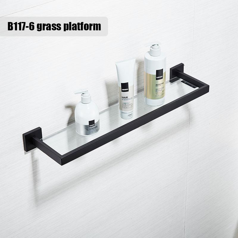 Bathroom Qualiyu Black Shelf Bath Foam Holder 304 Stainless Steel Material Towel Holder - Intl By Mellrain Kitchen & Bathroom.