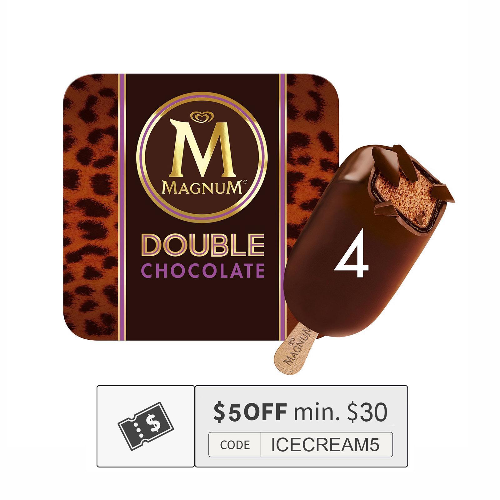 MAGNUM Stick Ice Cream - Double Chocolate 4sX88ml