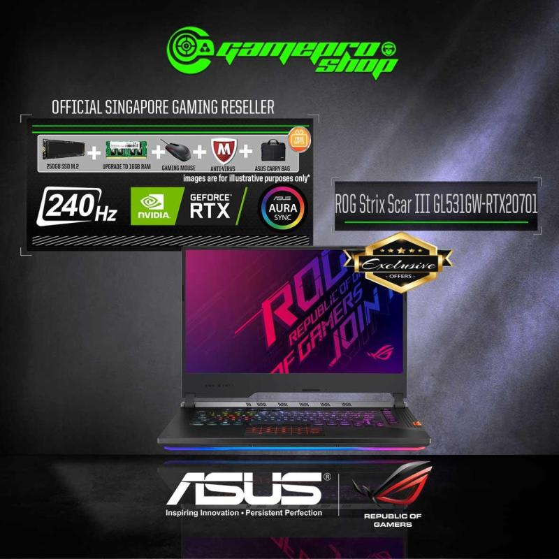 9th Gen ASUS ROG STRIX SCAR III G531GW - RTX2070 Exclusive  (I7-9750H / 8GB / 1TB HDD / W10) 15.6  FHD WITH 240Hz GAMING LAPTOP