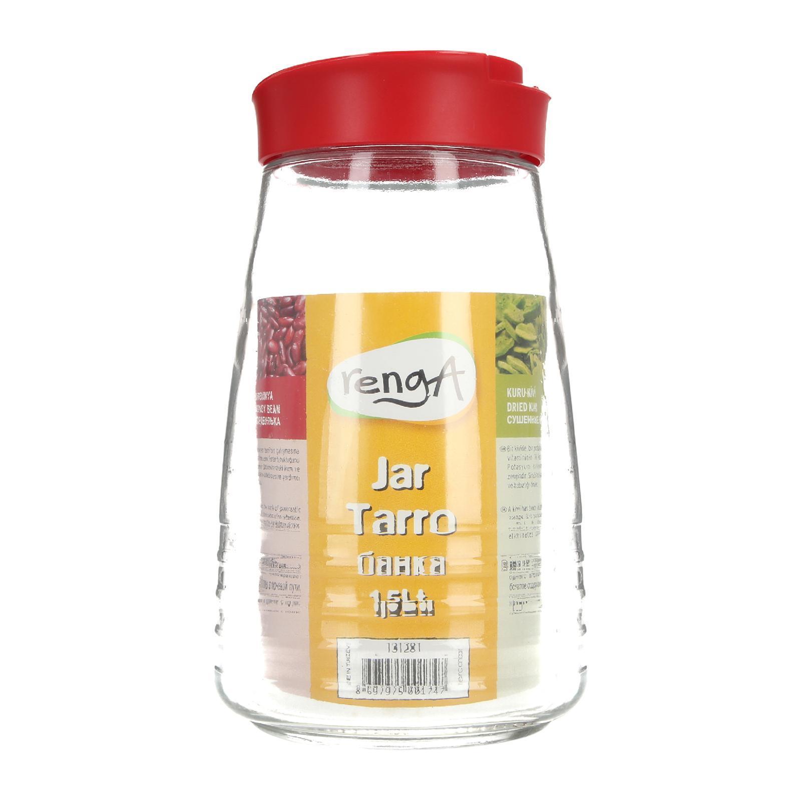 Renga Striped Glass Jar 1.5 L (Red)