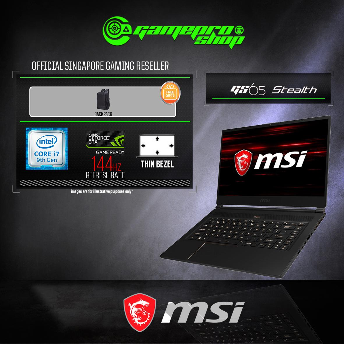 9th Gen MSI GS65 GTX1660Ti STEALTH 9SD - 681SG (i7-9750H / 16GB / 512GB SSD / WIN 10) 15.6 FHD with 144Hz GAMING LAPTOP *NDP PROMO*