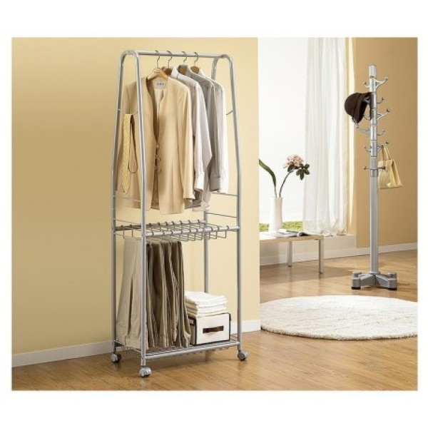 Korea Living Star trending two tiers garment hanger for Men women; Suits Organizer with wheels; LS-0247 ;Silver ;Portable Closet Organizer with bottom shelves; Clothes drying rack ; Sturdy steel pipe clothes rack; Bedroom wardrobe hanger. Smoove1