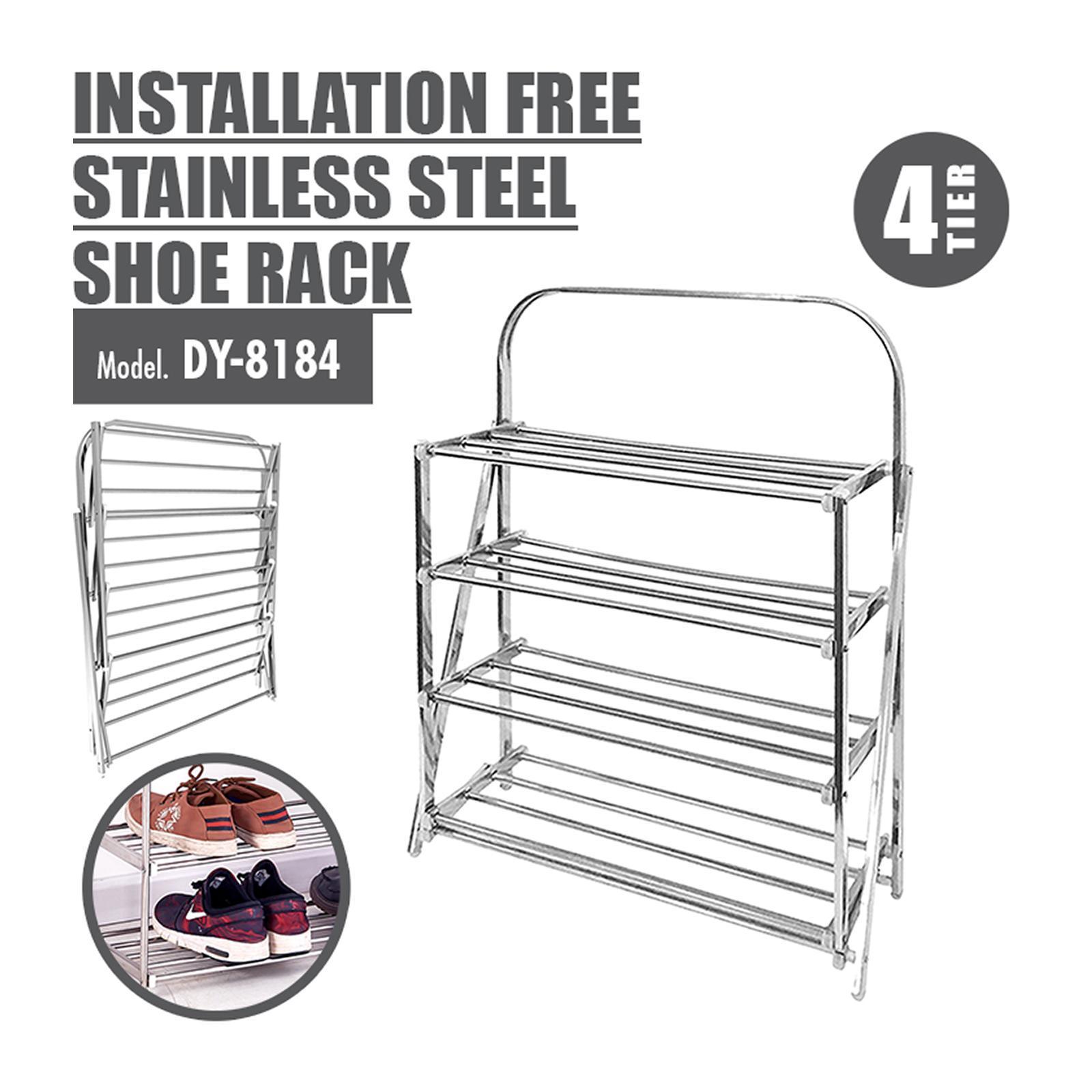HOUZE 4 Tier Installation Free Stainless Steel Shoe Rack