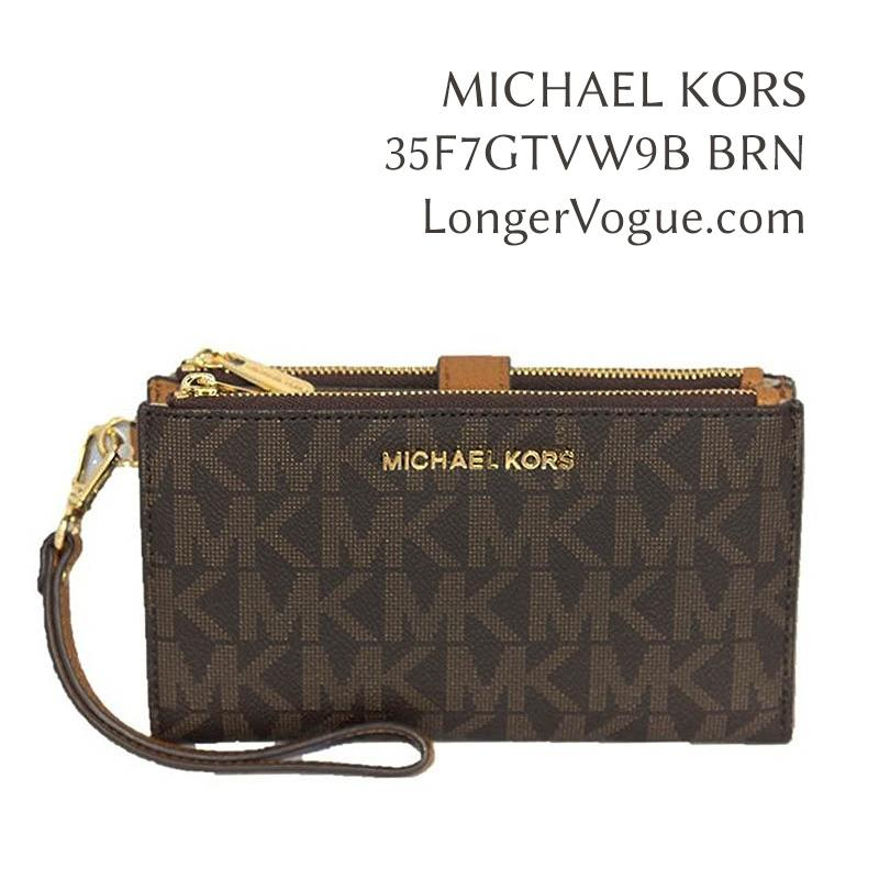 9d027206ec37 MK MICHAEL KORS Jet Set Travel Ecru Leather Double Zip Wristlet bifold  phone wallet 35F7GTVW9L 35F7GTVW9B