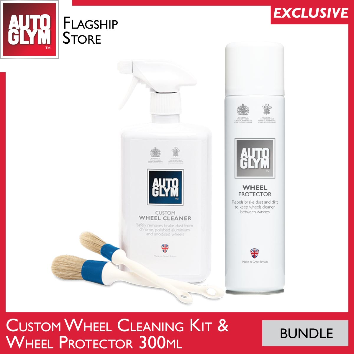 [bundle] Autoglym Custom Wheel Cleaner Complete Kit + Wheel Protector  Clean And Protect Your Car Wheels.
