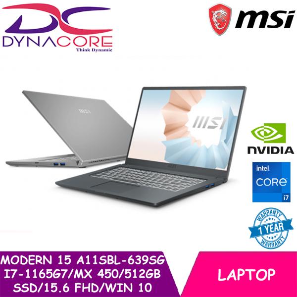 DYNACORE - NEW MSI Modern 15 A11SBL-639SG Ultrabook Laptop (i7-1165G7 | Ge-Force MX 450 | 512GB SSD | 15.6 Inch FHD | Win 10 | 1 Year warranty)