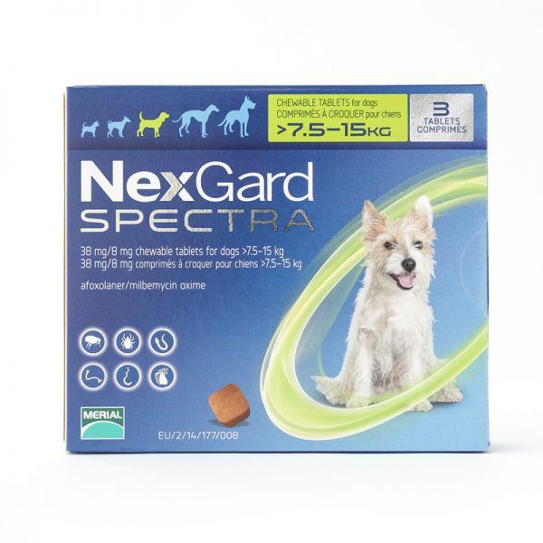 Free Shipping Nexgard Spectra For Medium Dogs 7.5-15kg, 3 Chews In A Pack.