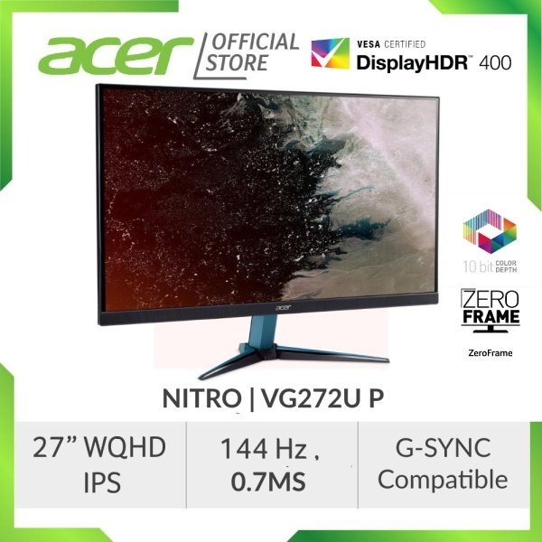 Acer Nitro VG272U P 27-inch Wide QHD IPS 144hz 0.7ms G-Sync Compatible Gaming Monitor