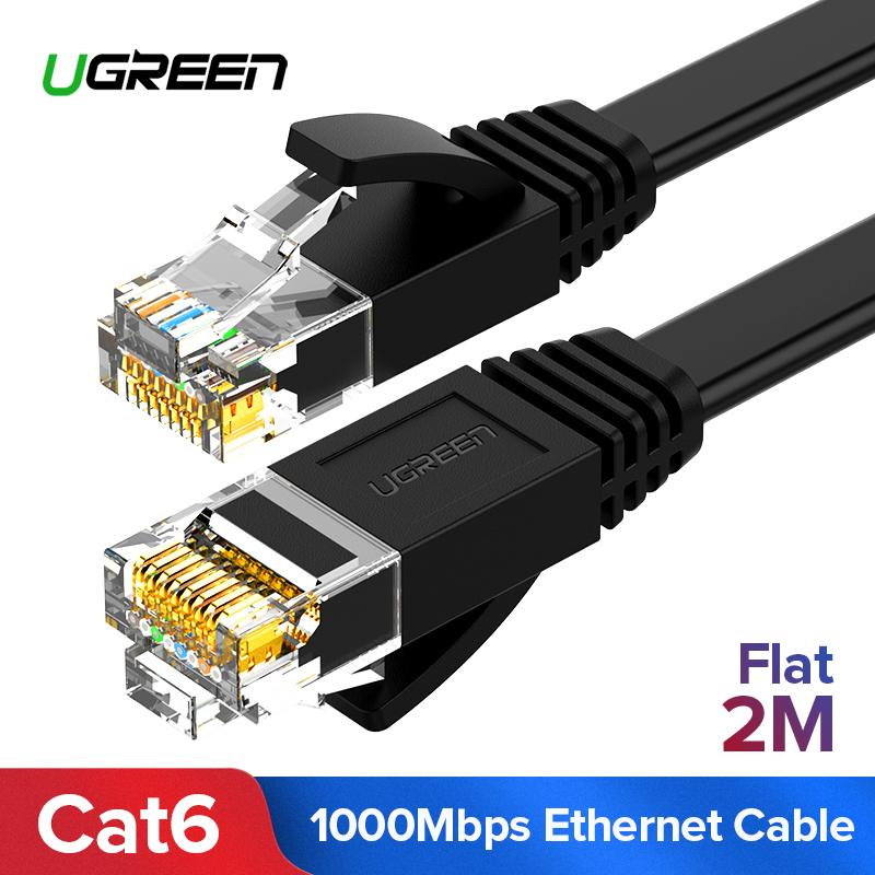 UGREEN 2 Meter Flat Cat6 Ethernet Patch Cable Gigabit RJ45 Network Wire Lan Cable Plug Connector