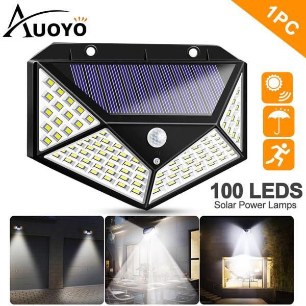Auoyo Đèn LED Năng Lượng Mặt Trời Đèn cảm biến chuyển động ngoài trời 100 LED năng lượng mặt trời, chuẩn chống nước IP65, góc quay rộng 270 °, đèn an ninh gắn tường với 3 chế độ cho sân vườn, cầu thang, ga-ra, hành lang, hàng rào