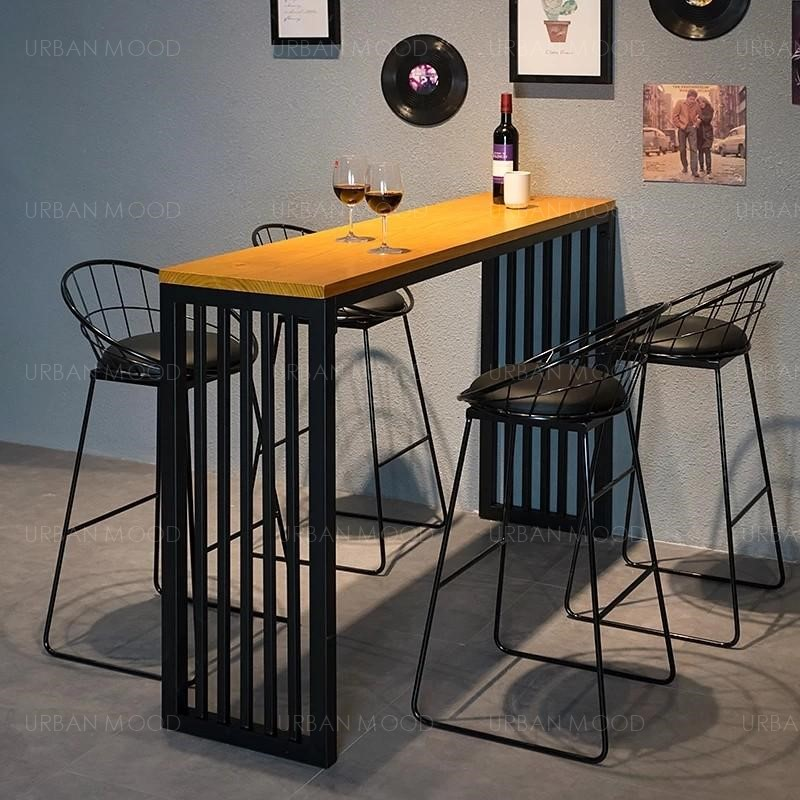 LIAM Modern Rustic Wooden High Bar Table & Stool