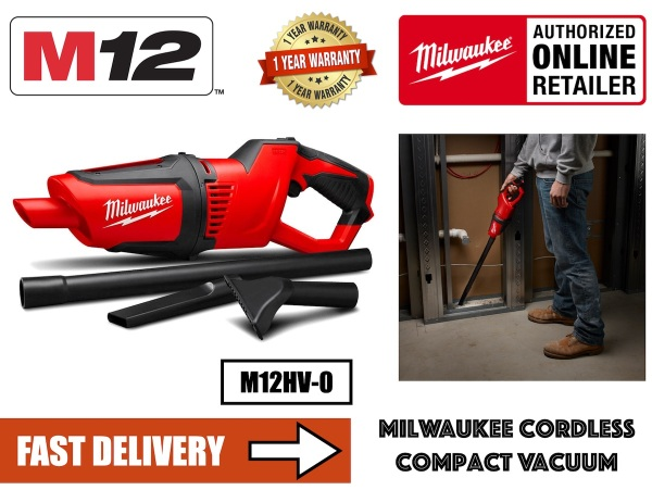 Milwaukee M12HV-0 Cordless Compact Vacuum Cleaner / (Add on Battery and Charger)