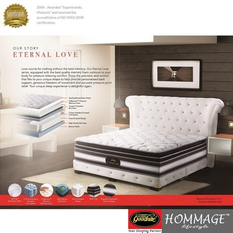 GOODNITE ETERNAL LOVE 15.5-inch 5 Zone Individual Coil System + Premium Memory Foam Mattress