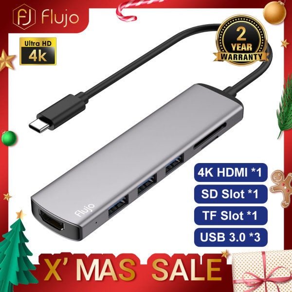 Flujo USB C Hub 6 in 1 Multi-Function Dongle Adapter Fast USB C to HDMI 4K, SD/TF Card Reader and 3x USB 3.0 Ports for MacBook pro/Air, iPad Pro 2020, Dell XPS 13/15, Samsung Galaxy S8/S9 and Other USB C Device
