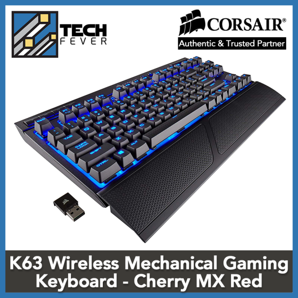 Corsair K63 Wireless Mechanical Gaming Keyboard, Backlit Blue LED, Cherry MX Red - Quiet & Linear Singapore