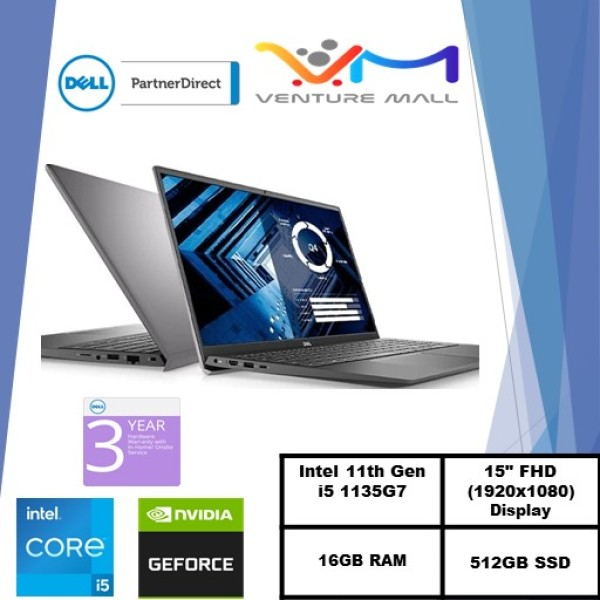 NEW 11GEN (READY STOCK)New Vostro 15 3500- Intel i5-1135G7/Win 10 Pro/MX330 2GB/16GB RAM/512GB SSD/3Yrs warranty