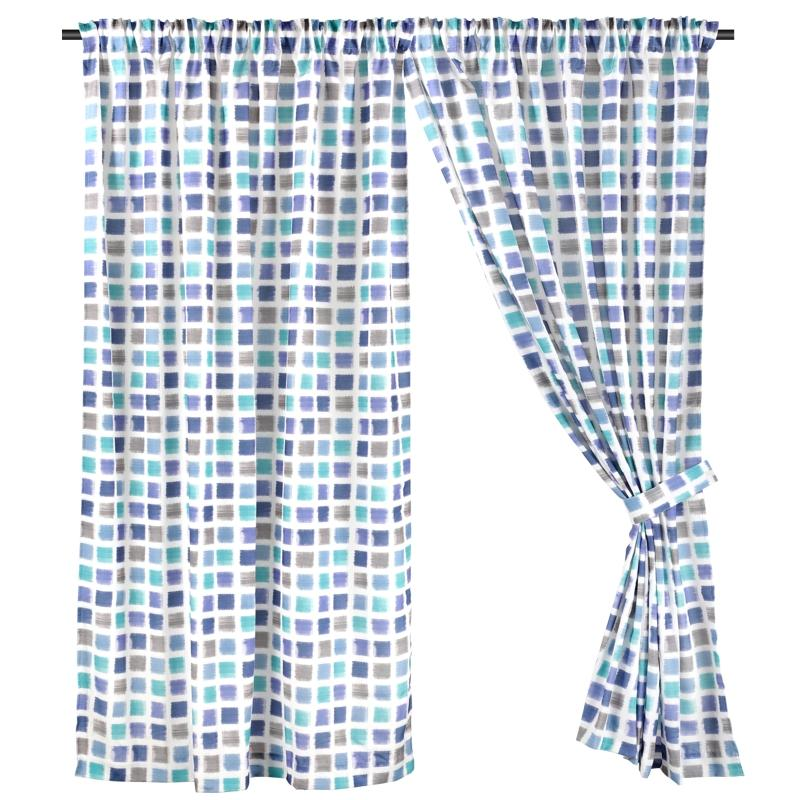 Half Length (147cm W x 172cm H) Ready Made Curtain, Printed Night Curtain, Blue, 3 Ways Hanging Options