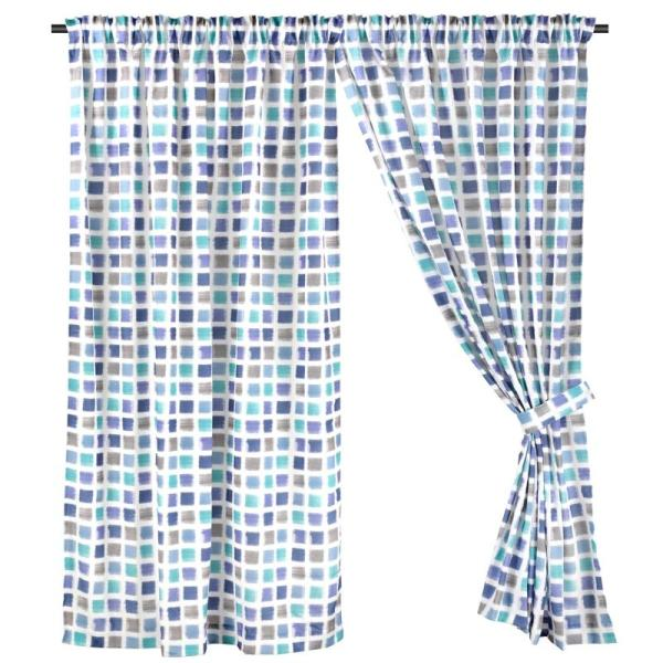Wide Width, Full Length (294cm W x 228cm H) Ready Made Curtain, Printed Night Curtain, Blue, 3 Ways Hanging Options