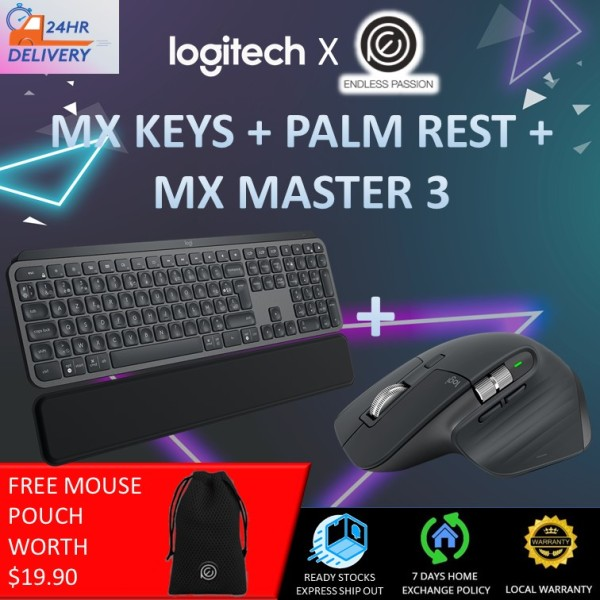 Logitech MX Keys Advanced Illuminated Wireless Keyboard, Bluetooth, Tactile Responsive Typing, Backlit Keys, USB-C, PC/Mac/Laptop Windows/Linux/IOS/Android, English Layout - Graphite Black [24 hours delivery] Singapore