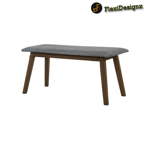 Flexidesignx Fendi Dining Bench Chair with Cushion Seat / Fabric / Walnut or Natural White