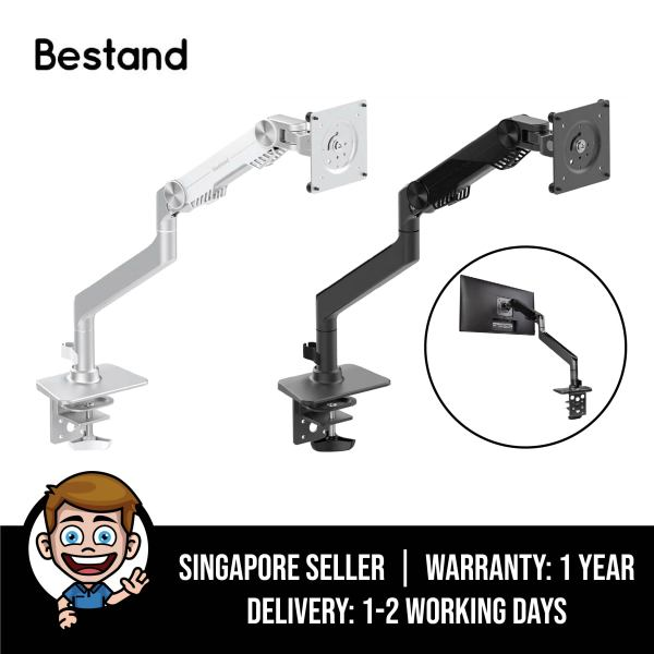 Bestand Premium Monitor Arm Mount [Upgraded Version], VESA Compatible Desk Mount Stand for LCD LED Computer Screen, Up to 32 inch, Fully Adjustable and Cable Management System, Single Monitor Arm - Silver / Grey