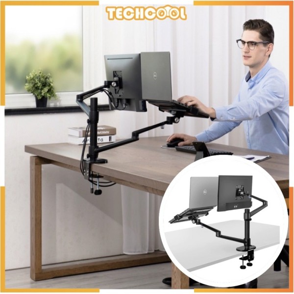 [SG Ready Stock] Monitor Desktop Dual Arm Aluminum Height Adjustable 17-32 inch Monitor +12-17 inch Laptop Holder