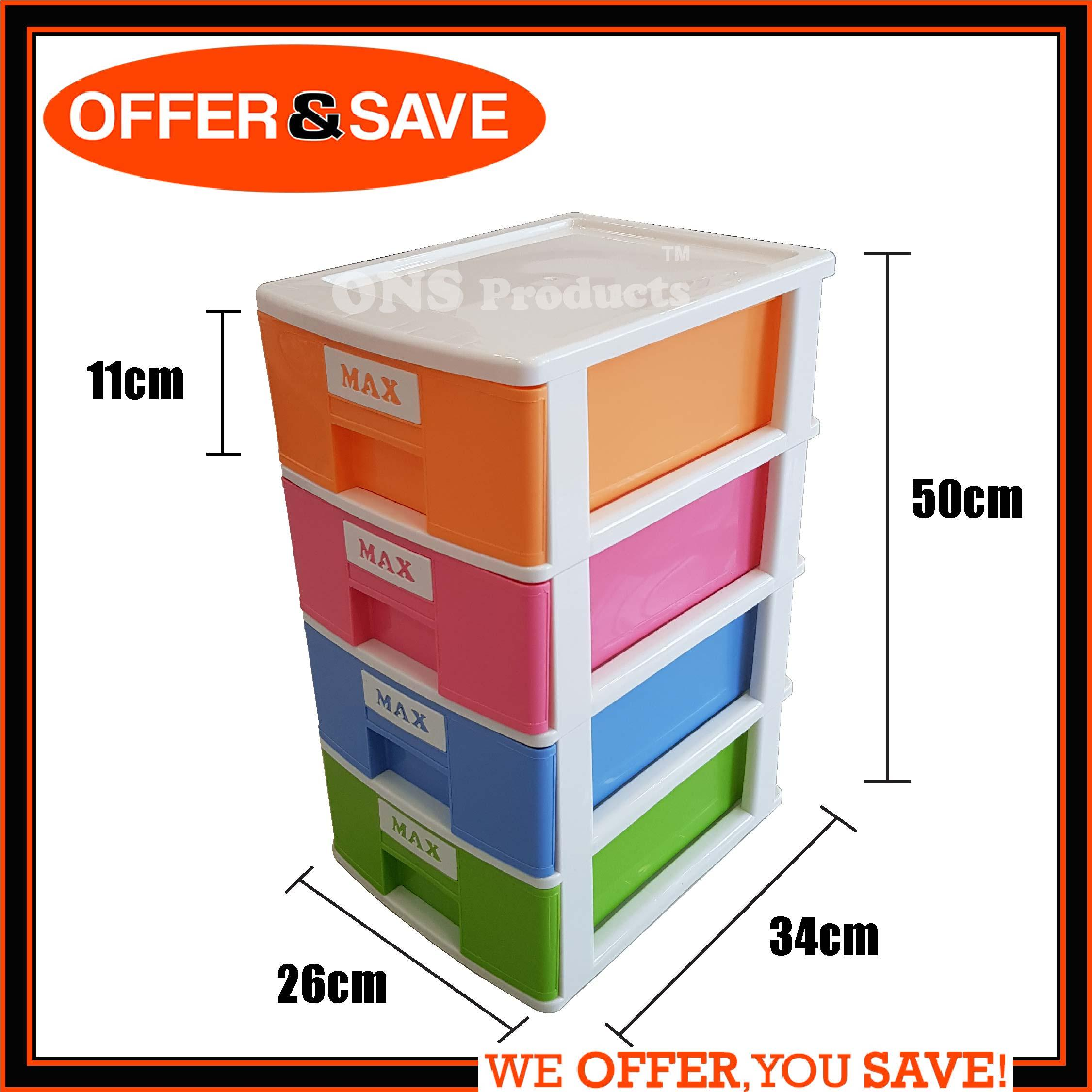 MAXONIC 4 Tier A4 Plastic Drawer M4-4NC- Desktop Organizer Storage Box A4 Paper