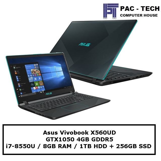 Asus X560UD-BQ148T / i7-8550U / 8GB RAM / 1TB HDD + 256GB SSD / GTX1050 (4GB Dedicated) / 15.6  Full HD / 2 Year Warranty