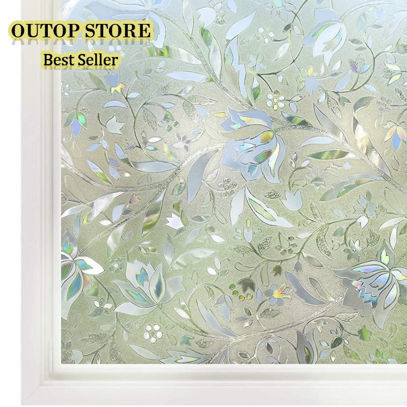 OUTOP Tulip Refraction Glue-Free Electrostatic 3D Window Clings For Privacy UV Protection