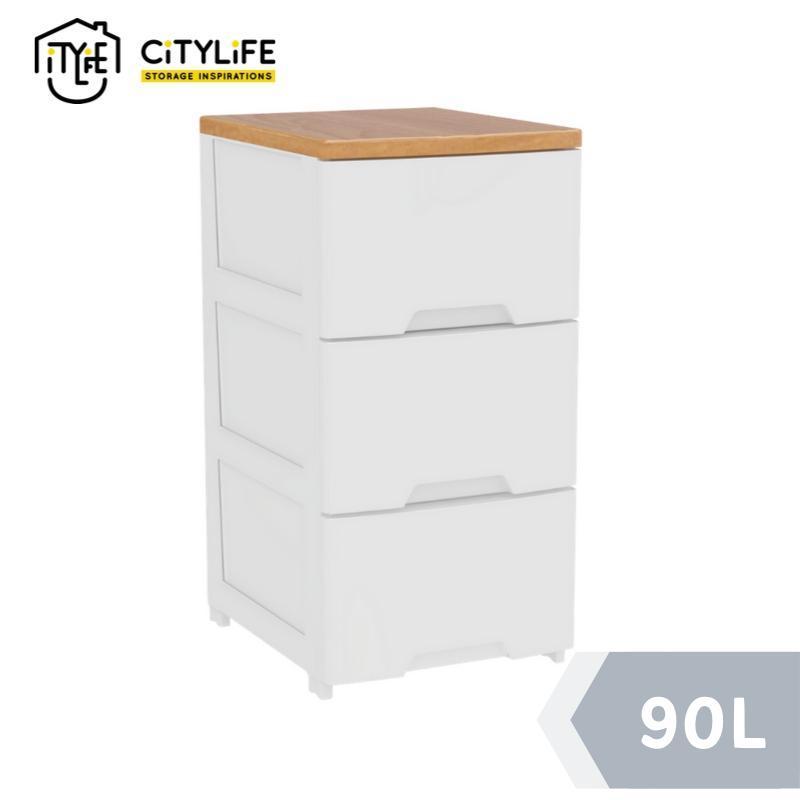 Citylife 90L 3 Tier Wooden Top Cabinet
