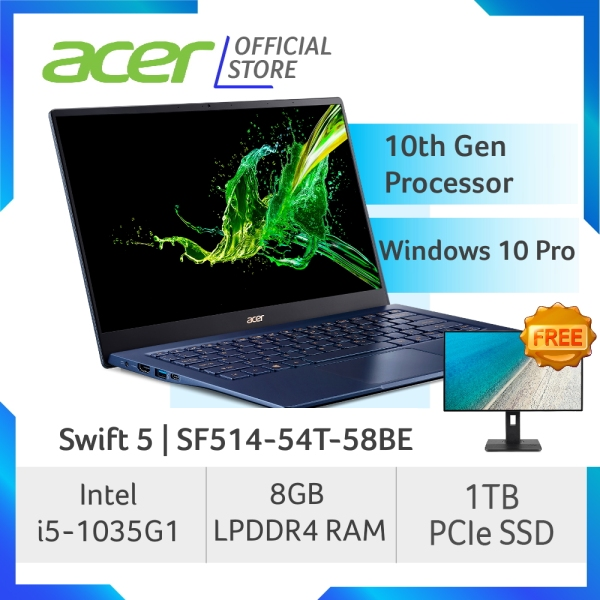 Acer Swift 5 SF514-54T-58BE NEW Thin and light Touch Screen laptop with LATEST 10 Gen Intel Processor - Windows 10 Pro