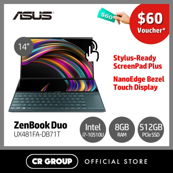 [Same Day Delivery] Asus Zenbook Duo UX481FA-DB71T 14 Inch Full HD Dual Touchscreen | Core i7-10510U | 8GB RAM | 512GB PCIe SSD