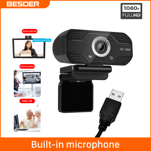 BESDER 1080P Webcam 30fps Compatible With Laptop Desktop Plug and Play WebCam USB 2.0 3.0 High Definition Built In Microphone Online Learning YouTube Xsplit Zoom Widely Compatible Web Camera