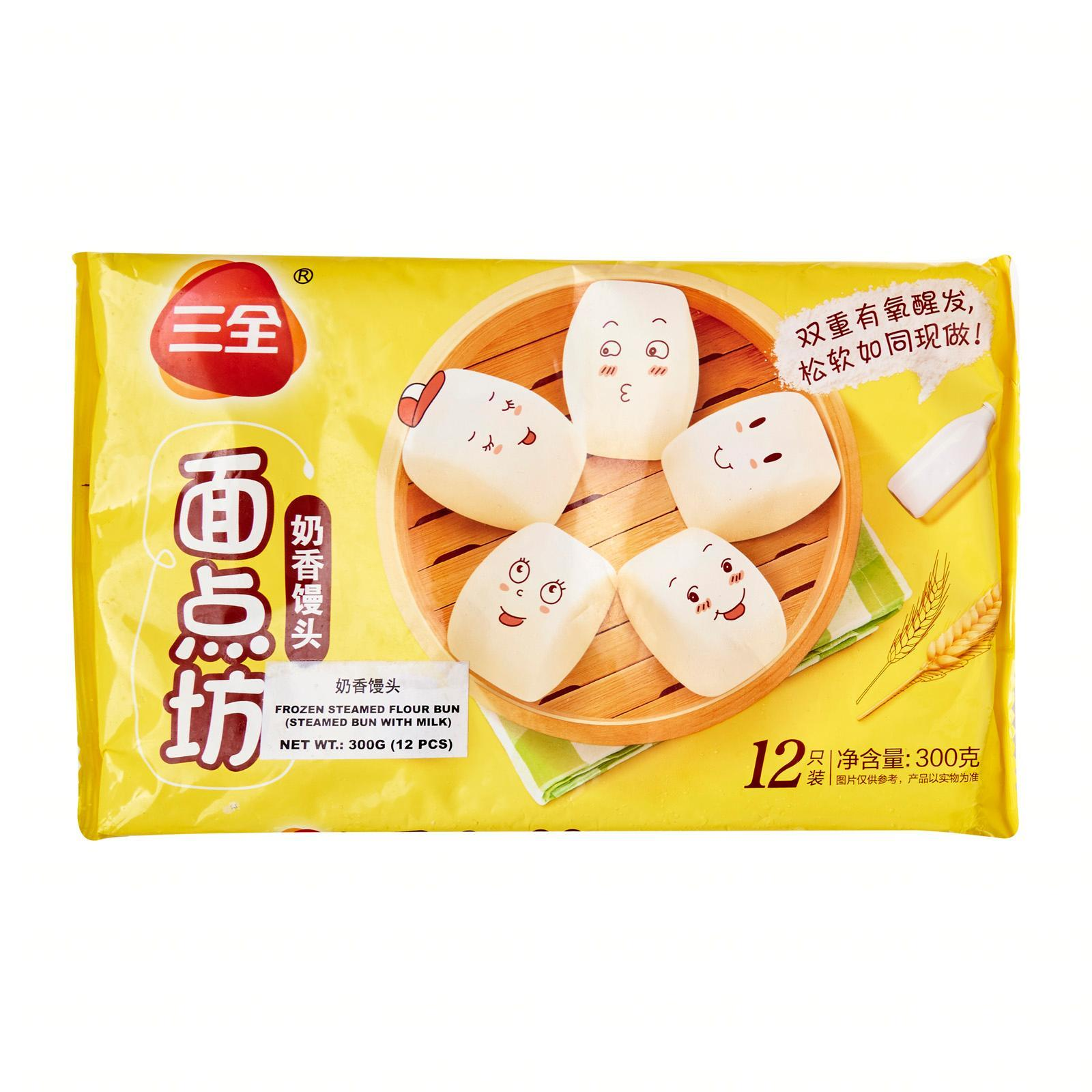 Sanquan Steamed Bun (with Milk) - Frozen By Redmart.