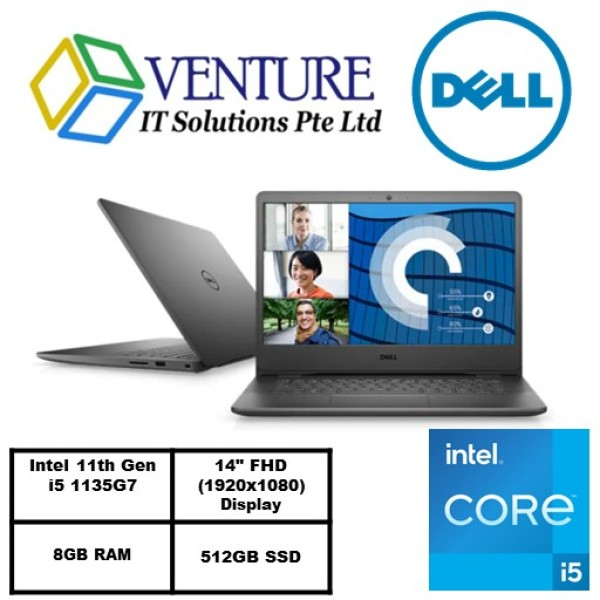 New 11th Gen (READY STOCK) New Vostro 14 3400- Intel® Core™ i5-1135G7/Windows 10 Pro/Intel® Iris® Xe Graphics/8GB RAM/512GB SSD/Accent Black