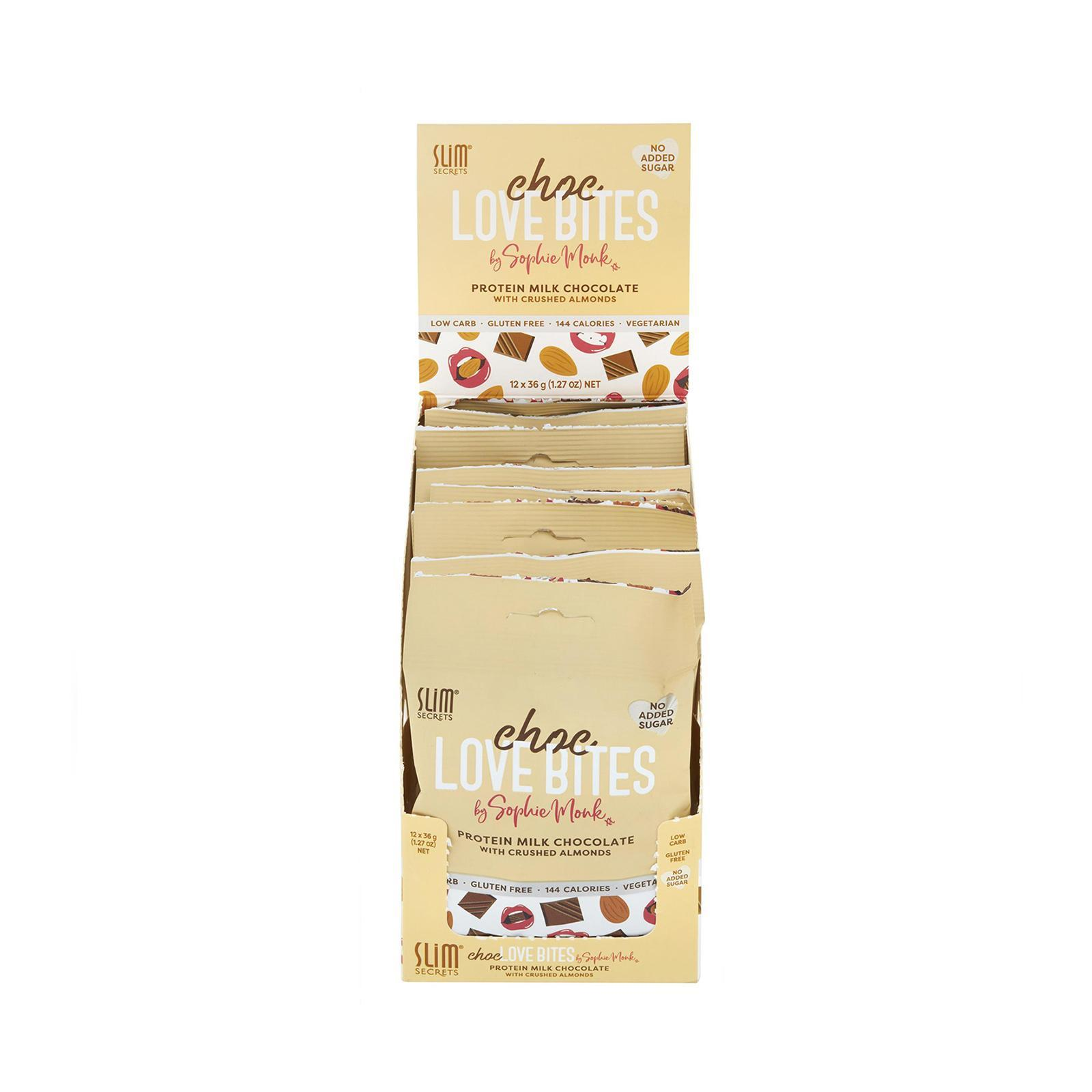 Slim Secrets Choc Love Bites - Protein Milk Chocolate With Crushed Almonds - Box Of 12 By Redmart.