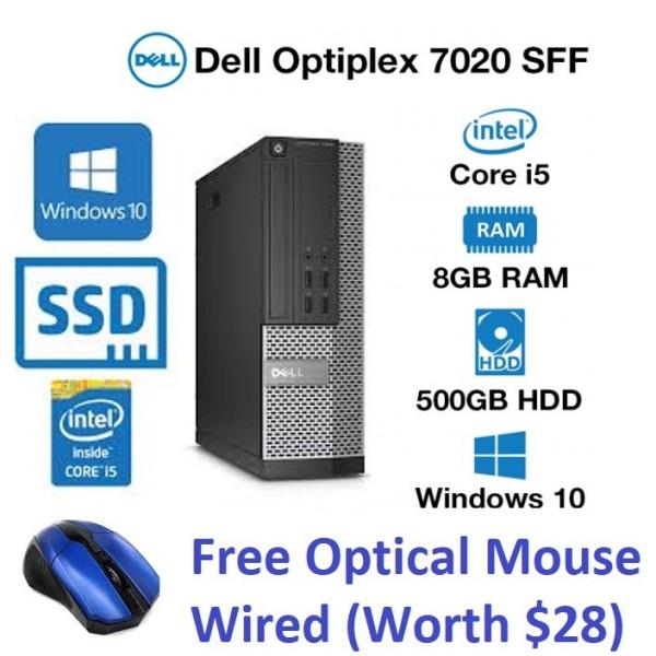 Dell OptiPlex 7020 Desktop SFF, Intel i5 4th Gen 8GB RAM|128GB SSD for (OS Installed) 500GB Extra Storage Windows 10 Pro , MS Office(Refurbished)