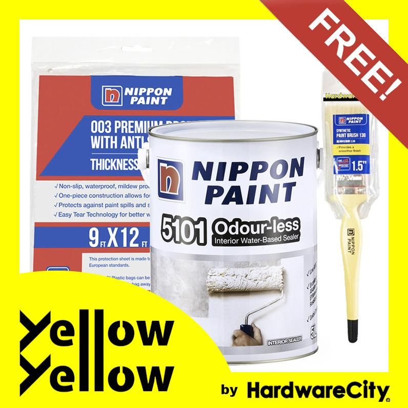 [FREE PAINT SET] Nippon Paint 5101 Odour-less Interior Water-Based Sealer White 1 Litre Package