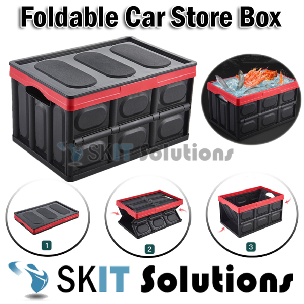 ★30L / 55L Foldable Car Boot Storage Box Stackable Collapsible Organizer Container Wardrobe★